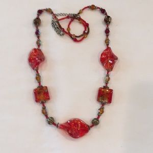 Jewelry - Beaded necklace in red/orange color